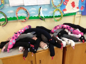 Some snakes made by the class when they were reading my first book, The Butterfly Heart